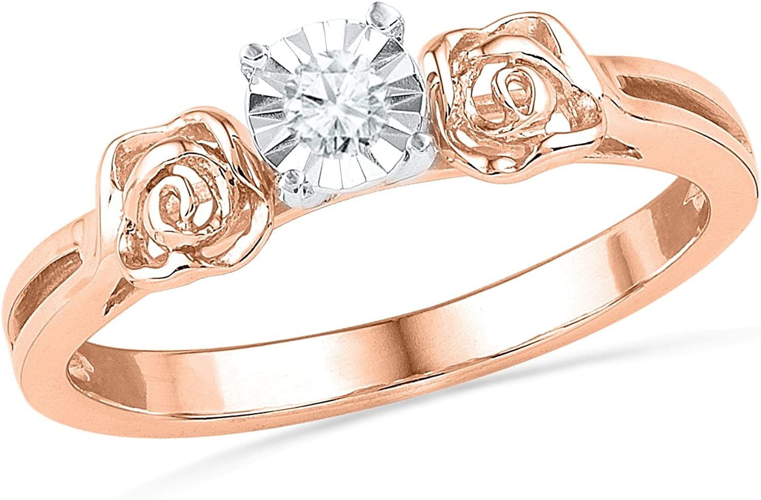 10KT Special sale item Pink Gold Round Diamond 0.04 CTTW Ring Promise Direct store