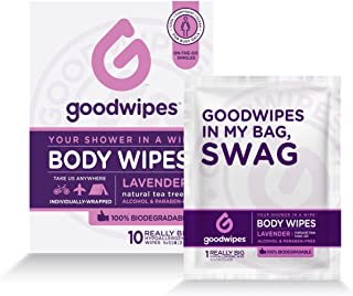 Goodwipes Body Wipes, Lavender Scent, 10 Individually Wrapped Wet Wipes