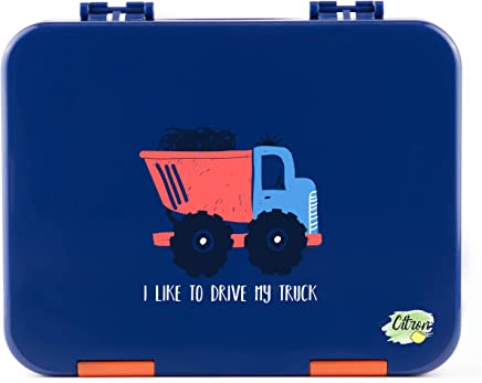 Citron Kids Leak Proof Bento Lunch Box, 6 Compartments, Dark Blue with Truck