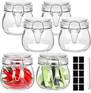 16 oz Glass Jars, 6 Pack Wide Mouth Mason Jars Preserving Jars with Airtight Rubber Gasket Hinged Lids Reusable Kitchen St...