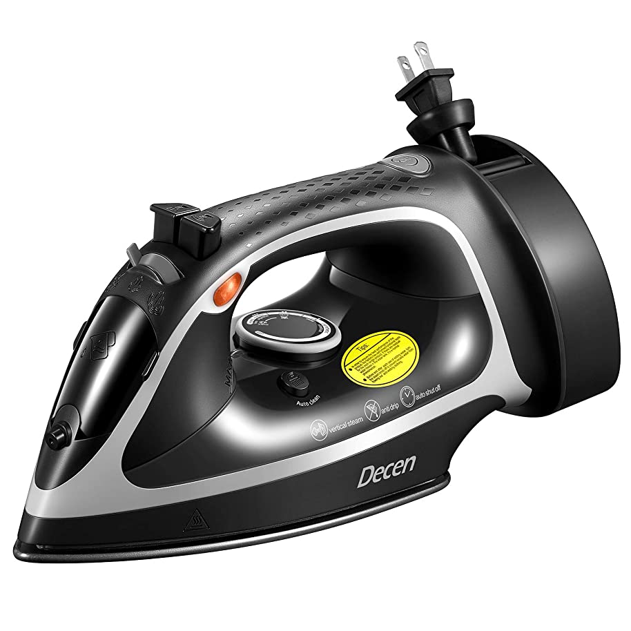 Decen Steam Iron, 1600W Large Antidrip Nonstick Stainless Steel Iron with 5-Level Temperature Control & Adjustable Steam Setting, Selfclean Function, Retractable Cord, 3-Way Auto-Off, Anti-Calc