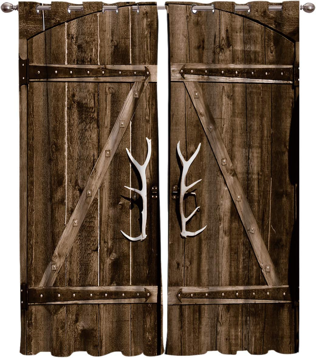 FortuneHouse8 Blackout Curtains Thermal Door Max 50% Columbus Mall OFF Insulated Antlers W