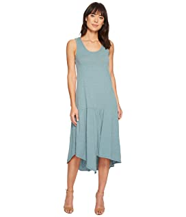 Slub Jersey Shirred Seamed Hi-Low Tank Dress