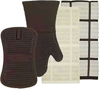 All-Clad Textiles - 4 Piece Kitchen Set - Includes 1 Solid and 1 Checked 100% Cotton Kitchen Towels, 1 Oven Mitt, and 1 Pot Holder - Heavyweight, Stain Resistant, Silicone treated, 500 Degree Heat Resistant