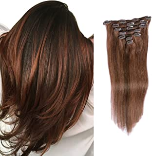 20 Inch Hair Extensions Clip in Remy Human Hair Extension Brown Balayage 70grams 7pcs Silky Straight Full Head Clips in fo...