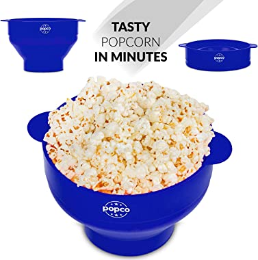 The Original Popco Silicone Microwave Popcorn Popper with Handles, Silicone Popcorn Maker, Collapsible Bowl Bpa Free and Dish