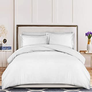 Utopia Bedding 3-Piece Duvet Cover Set – 1 Duvet Cover with 2 Pillow Shams - Soft Brushed Microfiber Fabric - Shrinkage and Fade Resistant - Easy Care (Queen, White)