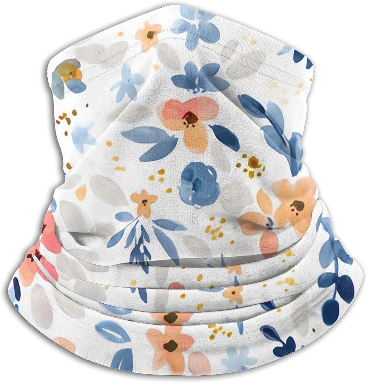 Fawn Floral Blue Peach White Bandanas Neck Gaiter Face Mask Scarf Face Shield