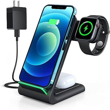 【2021最新デザイン】Aouevyo ワイヤレス充電器 3in1 Qi認証 15W急速 置くだけ充電 Apple Watch充電 Airpods充電 スマホ iPhone 13/13 Mini/13 Pro Maxi/ 12 / 12pro / 12 pro max /12 Mini / 11 / 11pro / 11 promax / Xs / X / XR / 8 / Samsung S20 / S10 / S10+ / S9 / S9+ / S8 / S8+などqi機種対応 QC3.0充電器付属 ブラック