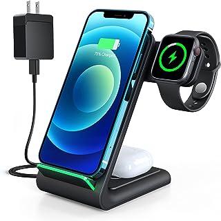 Aouevyo ワイヤレス充電器 3in1 Qi認証 15W急速 置くだけ充電 Apple Watch充電 Airpods充電 スマホ iPhone 13/13 Mini/13 Pro/13 Pro Max/ 12 / 12pro / 12 p...