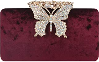 Velvet Butterfly Clutch Crystal Evening Bags And Clutches