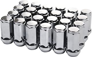 ZY WHEEL Set of 24pcs Chrome Bulge Lug Nuts Metric 14x1.5 Threads Conical Cone Taper Acorn Seat Closed End Long Extended 45mm 1.8