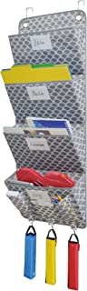 VNOM 4 Pockets - Wall Mount/Over Door Office Supplies File Document Organizer Holder (Fish Scale Pattern)