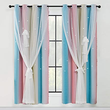 POHOVE Star Curtains,Rainbow Stripe Window Curtains,Hot Pink Curtains For Bedroom Girls,Double Layer Bedroom Curtains For Kids Room