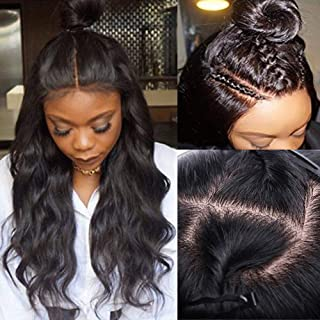 Silk Base Full Lace Wig Human Hair With Baby Hair Pre Plucked Silk Top Lace Wig Natural Hairline Glueless Virgin Human Hair Wig Body Wave for Black Women 1B Natural Black 14''/14inch