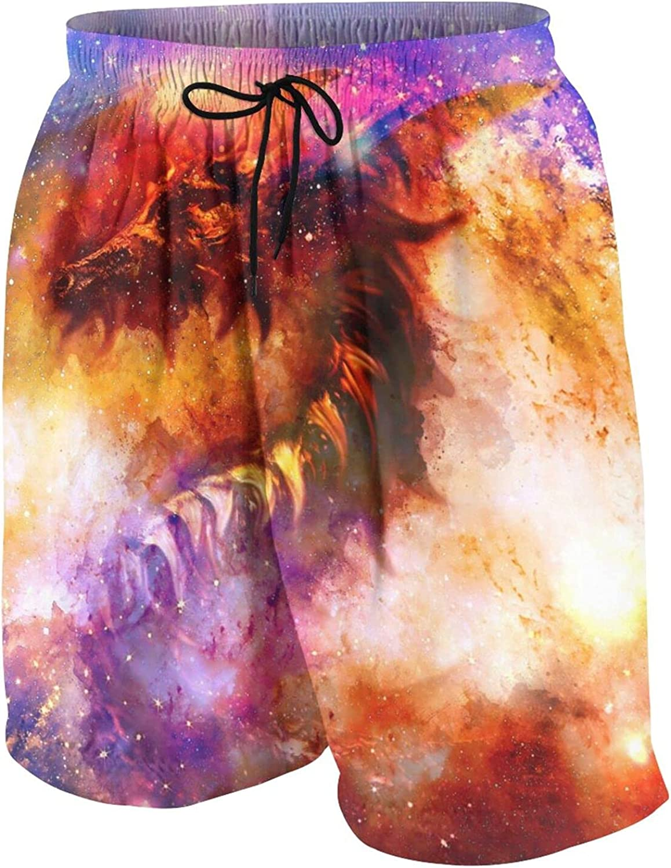 Cosmic Dragon in Space Boys Swim Trunks Quick Dry Beach Board Swim Shorts Swimsuit Swimwear from 7T to 18