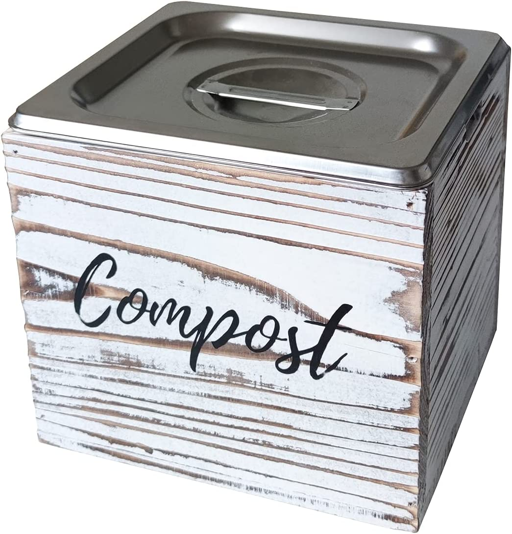 Rustic Compost Bin Kitchen - Wooden Compost Container with Stainless Steel Bucket Inside & Rust Proof Lid - Odor Proof - Kitchen Scrap Keeper - Small Countertop Composter Bin - 0.8 Gal