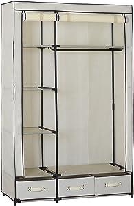 WOLTU SS5027cm Kleiderschrank Stoff, Garderobenschrank Faltschrank, Stoffkleiderschrank mit Kleiderstange mit Schublade, Crème Weiss, 110x46x168 cm