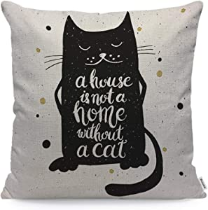 Wozukia Cat Throw Pillow Cover A House is Not A Home Without A Cat Inspirational Quote Polka Dot Decoration Square Pillow Case Cushion Cover for Home Car Decorative Cotton Linen 18x18 Inch