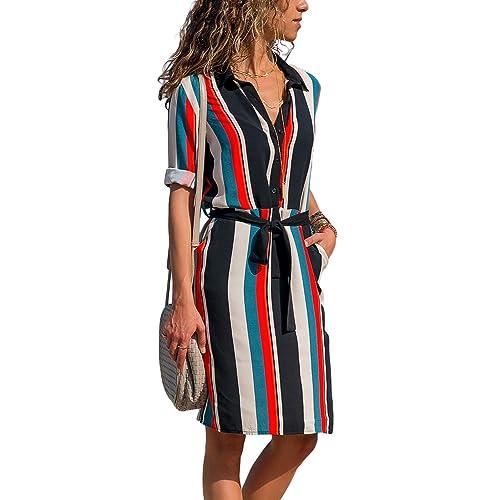 9195d788c52 GOSOPIN Womens Long Sleeve Color Block Print Button Down Tie Waist Shirt  Dress with Pocket