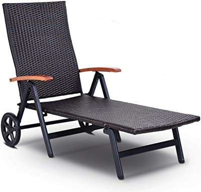 OAKVILLE FURNITURE 61709 Portable Folding Back Patio Outdoor Rattan Adjustable Chaise Lounge Chair with Wheels, Brown Wicker