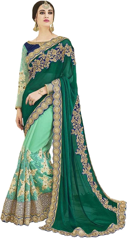 Sangrahan Indian Women Saree Designer Party wear Wedding Green color Sari K554150602