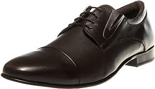 Manz - Zapatos de Cordones de Piel Lisa para Hombre Marrón Moro