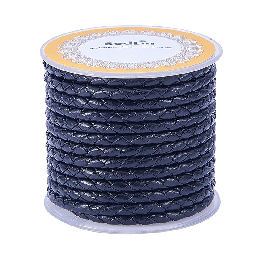 PandaHall 1 Roll 4mm Round Folded Bolo Fold Braided Leather Cords for Necklace Bracelet Jewelry 5m per Roll Black