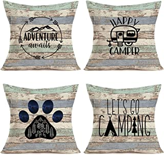 YANGYULU Vintage Rustic Wood Happy Camper Pillow Covers Adventure Inspirational Quotes Dog Paw Home Outdoor Decorative Thr...