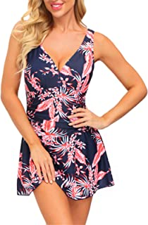 JASAMBAC Women's Tummy Control Swimdress V Neck Ruched Floral One Piece Swimsuit