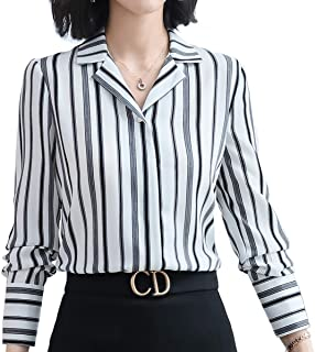 JHVYF Women's Vertical Striped Blouses V Neck Long Sleeve Button Down Shirts Ladies Casual Work Tops