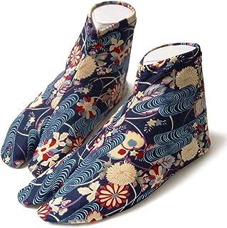 [でぃあじゃぱん] 柄足袋 菊流水 紺 青 藍 和柄 伝統文様 フリーサイズ ストレッチ 口ゴム 足袋カバー