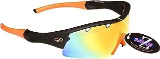 Rayzor Gafas de Sol Profesionales para Ciclismo para Hombres y Mujeres, Ligeras, para Ciclismo y Deportes, Impermeables, Color Negro con una Lente de Espejo Naranja ventilada.