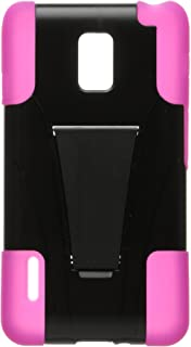 Eagle Cell Hybrid Case Y with Kickstand for LG Optimus F7/US780 - Retail Packaging - Black/Hot Pink
