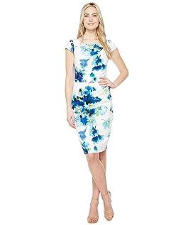 Printed Poppy Petal Stretch Crepe Drape Neck Sheath Dress