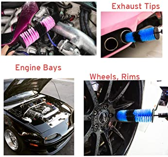 BOKA 2 Pack Tire Wheel Brush 17 inch Long Soft Bristle Wheel Rim Detailing Brush Kit Easy Reach Rim Tire Detail Brush Car Washing Brushes for Cleaning Wheels,Rims,Exhaust Tips,Motorcycles