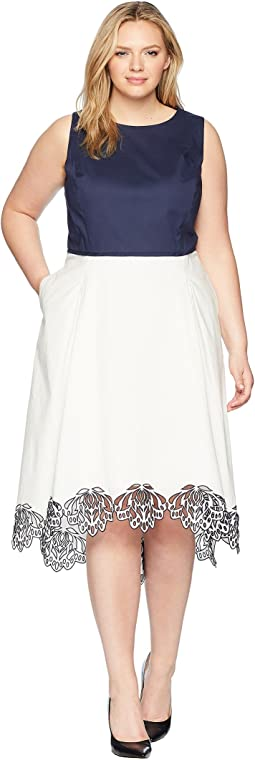 Plus Size Embroidered Hem Midi Dress