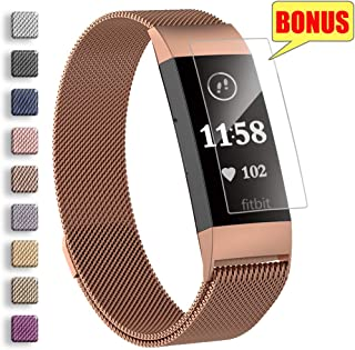 AxPower Stainless Steel Mesh Bands Compatible with Fitbit Charge 3 3SE Metal Replacement Wristband for Women Men with Screen Protector (Large, Rose Gold)