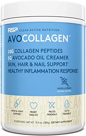 RSP NUTRITION Hydrolyzed Collagen Peptides, Keto Collagen Powder and Healthy Fats, Gluten Free and Keto Friendly, 20 Servings (Vanilla)