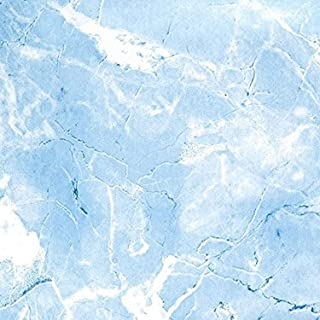 Magic Cover Self-Adhesive Vinyl Shelf and Drawer Liner, 18-inches by 20-Feet, Marble Baby Blue