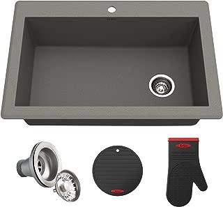 Kraus KGD-54GREY Forteza Granite Kitchen Sink, 33 Inch, Grey