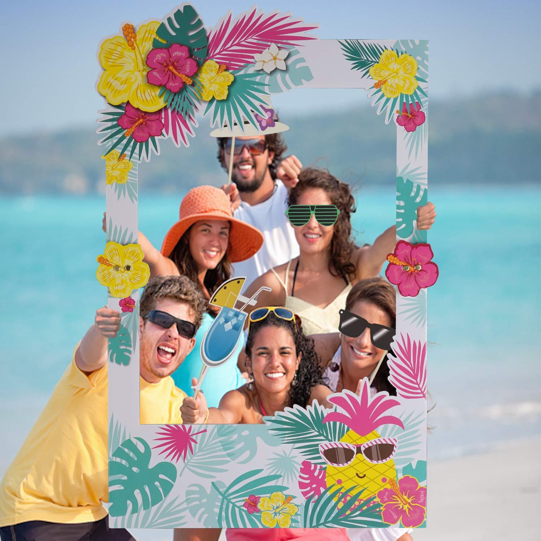 22 36 32 45Pcs Hawaiian Luau Tiki Photo Booth Selfie Props Tropical Beach Party