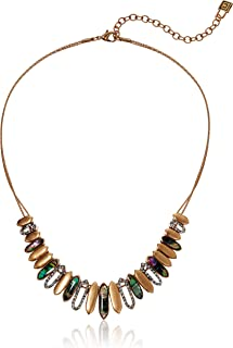 Chaps Women's Gold Tone and Abalone Frontal Necklaces