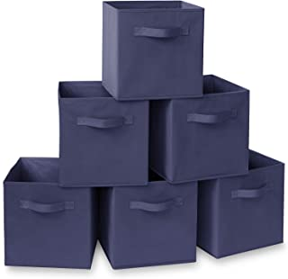 Casafield Set of 6 Collapsible Fabric Cube Storage Bins, Navy Blue - 11