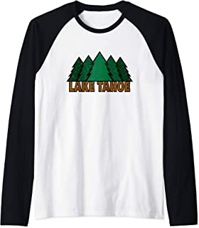 Lake Tahoe California Emerald Bay Pines Raglan Baseball Tee