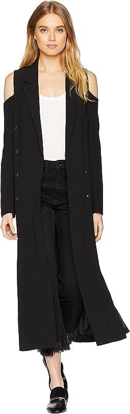 Cold Shoulder Long Blazer