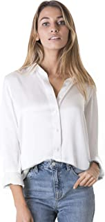 Women 100% Silk Blouse Long Sleeve Ladies Shirt Satin Charmeuse Work Top