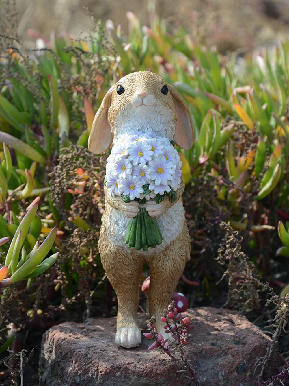 DoMyfit - Estatua Decorativa de Conejo para jardín, decoración al Aire Libre, paisajismo, Conejos idílicos, Conejos Decorativos, Adornos de Resina para inauguración de la casa, Ramo de Conejos.: Amazon.es: Jardín