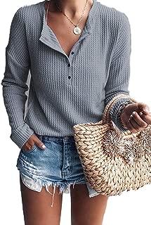 iChunhua Womens Henley Blouse Button Down Pullover Knit Long Sleeve Lightweight Shirts Tops