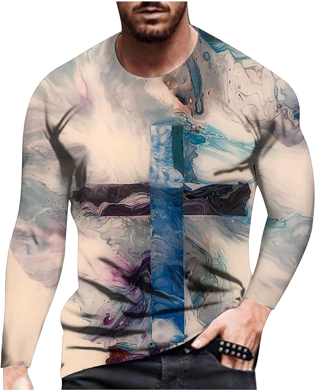 Bravetoshop 3D Printed T-Shirt for Men, Men's Novelty Graphic Funny Crewneck Long Sleeve Tee Tops